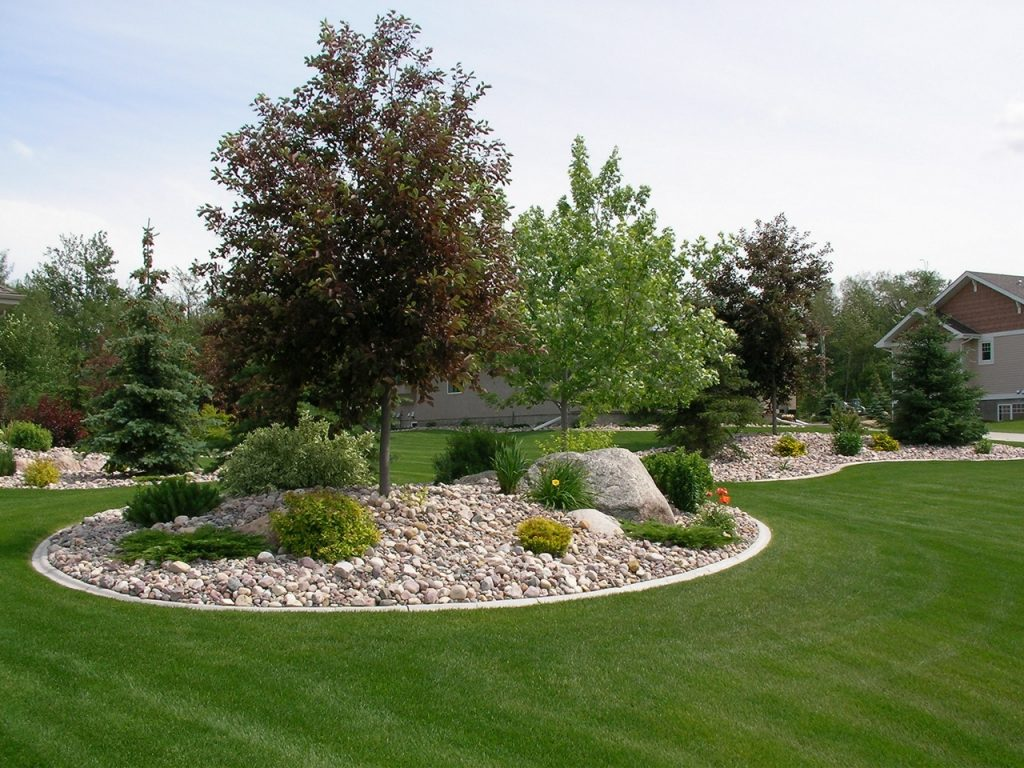 landscape curb Islands mounded and  not too small