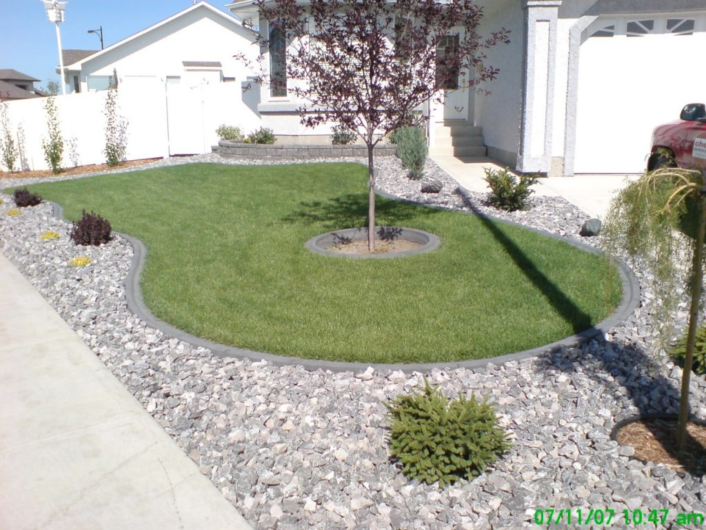 Grass island created by curb