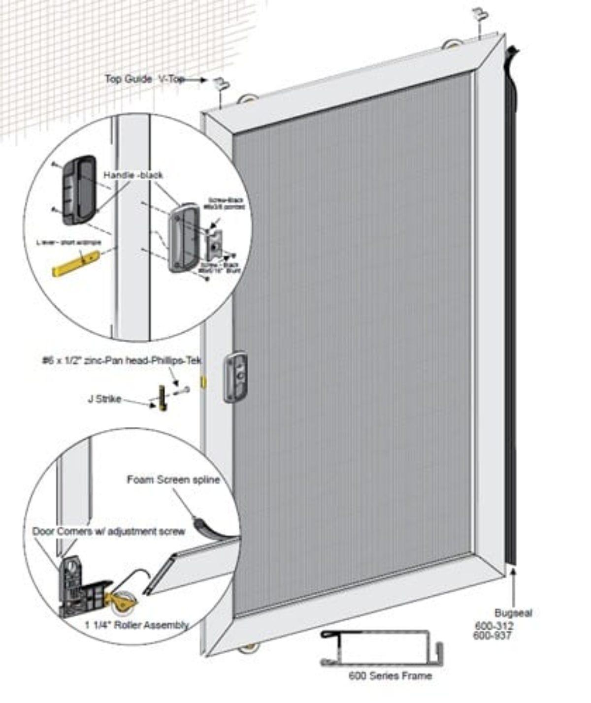 36 x94 unassembled economy sliding screen door kit