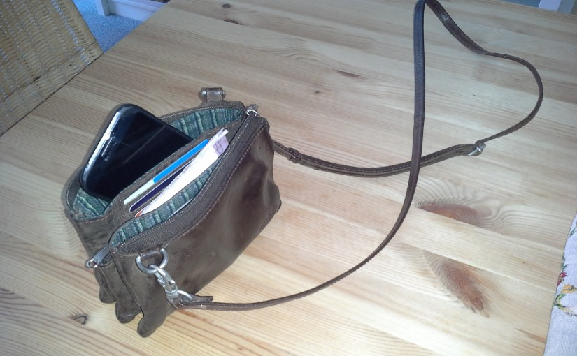 Leather Clutch with Strap for Phone, cards and coins
