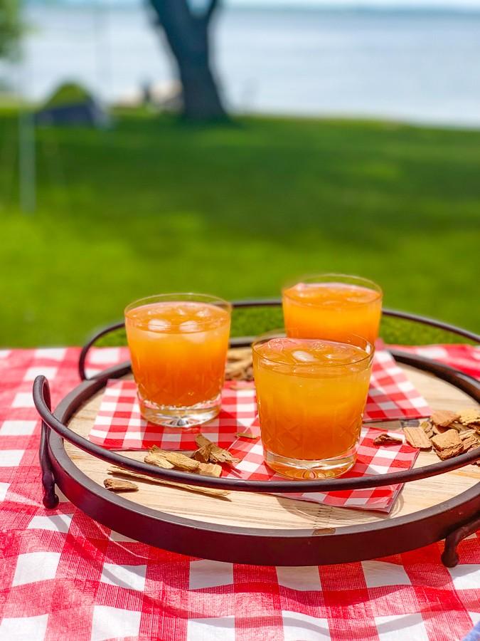 Mesquite-Infused Bourbon Peach Lemonade
