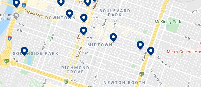 Accommodation in Midtown Sacramento - Click on the map to see all the accommodation in this area