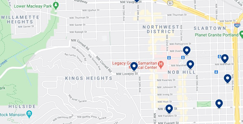 Accommodation in Nob Hill & Northwest Portland - Click on the map to see all available accommodation in this area