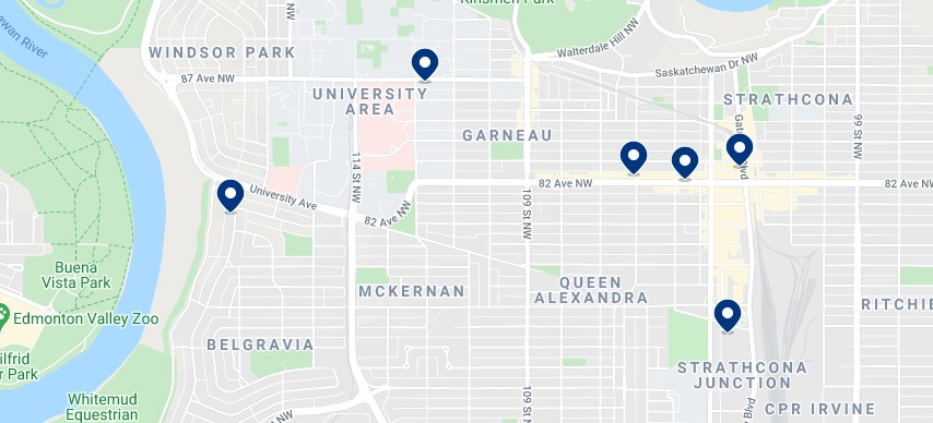 Accommodation in Strathcona & South Central Edmonton - Click on the map to see all available accommodation in this area