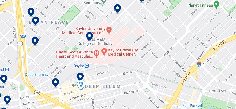 Accommodation in Deep Ellum & Baylor District - Click on the map to see all available accommodation in this area