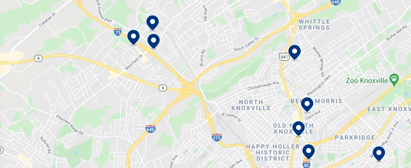 Accommodation in North Knoxville, TN - Click on the map to see all available accommodation in this area