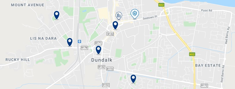 Accommodation in Dundalk Town Centre - Click on the map to see all the accommodation in this area