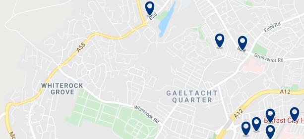 Accommodation in Gaeltacht Quarter - Click on the map to see all the accommodation in this area