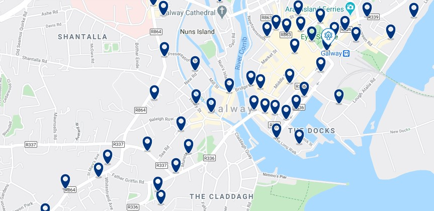 Accommodation in Galway City Centre - Click on the map to see all the accommodation in this area