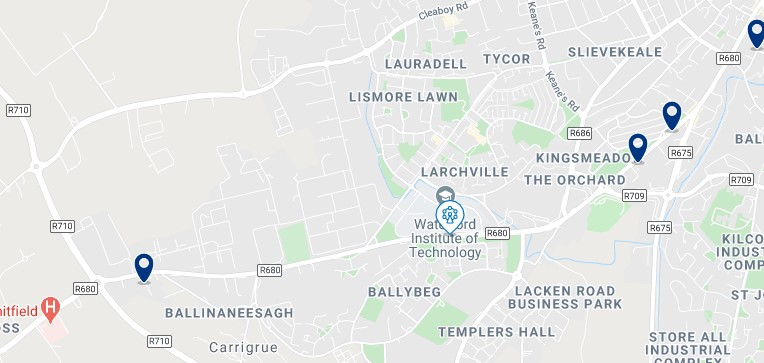 Accommodation in Waterford Institute of Technology - Click on the map to see all the accommodation in this area