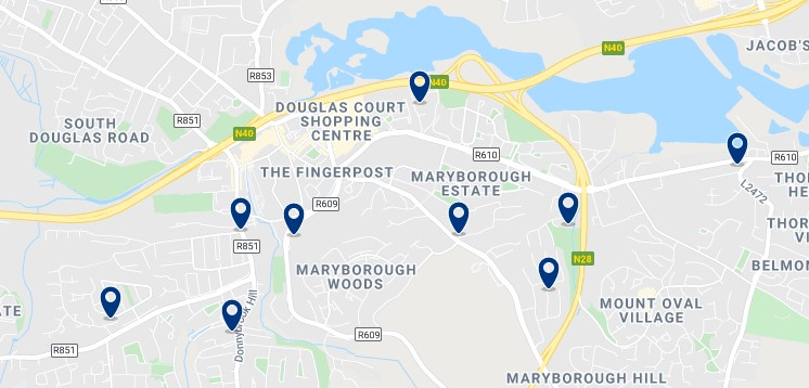 Accommodation in South East Cork - Click on the map to see all the accommodation in this area