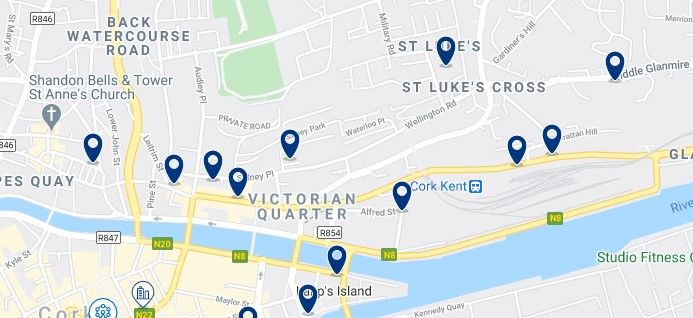 Accommodation in the Victorian Quarter and around Kent Station Cork - Click on the map to see all the accommodation in this area