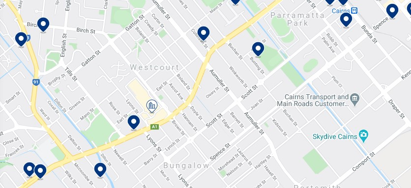 Accommodation in Parramatta Park & Westcourt - Click on the map to see all the accommodation in this area