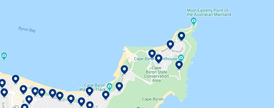Accommodation in Cape Byron & Wategos Beach - Click on the map to see all the accommodation in this area