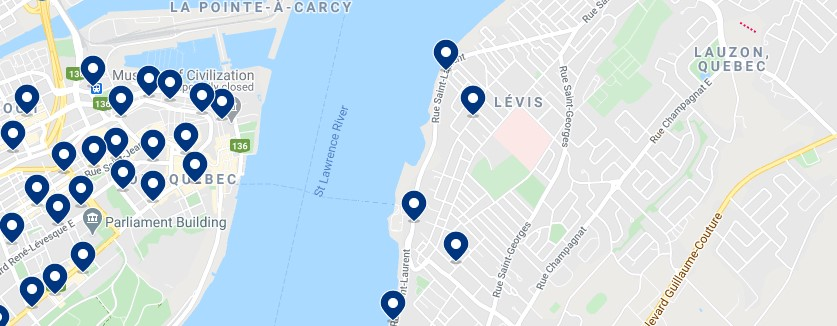 Accommodation in Lévis - Click on the map to see all available accommodation in this area