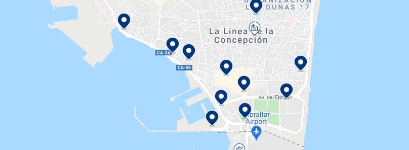 Alojamiento en La Línea de la Concepción - Haz click en el mapa para ver todo el alojamiento disponible en esta zona