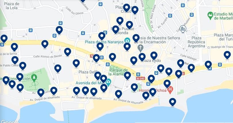 Alojamiento en el Centro y Casco Antiguo de Marbella - Haz click en el mapa para ver todo el alojamiento disponible en esta zona