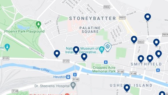 Accommodation in Stoneybatter & Smithfield - Click on the map to see all the available accommodation in this area