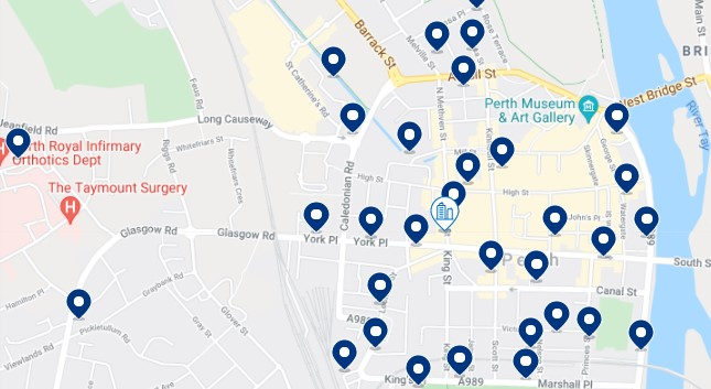 Accommodation in Perth City Centre - Click on the map to see all the available accommodation in this area