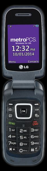 LG 450 flip phone, open