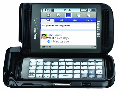 Samsung Alias 2 U750 qwerty dual flip phone, opened in landscape mode
