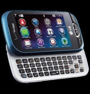 LG Extravert 2 slide phone with QWERTY keyboard, open