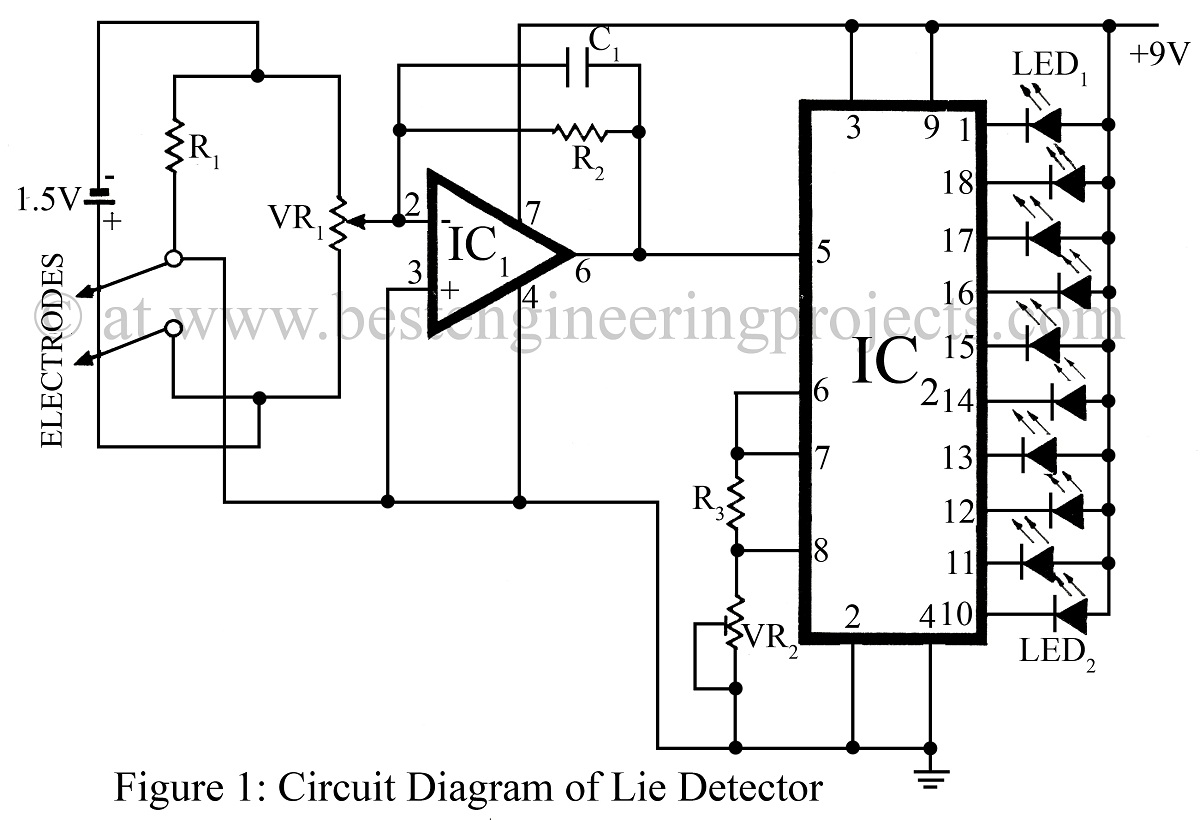 lie detector  circuit diagram  verified electronics projects, circuit diagram