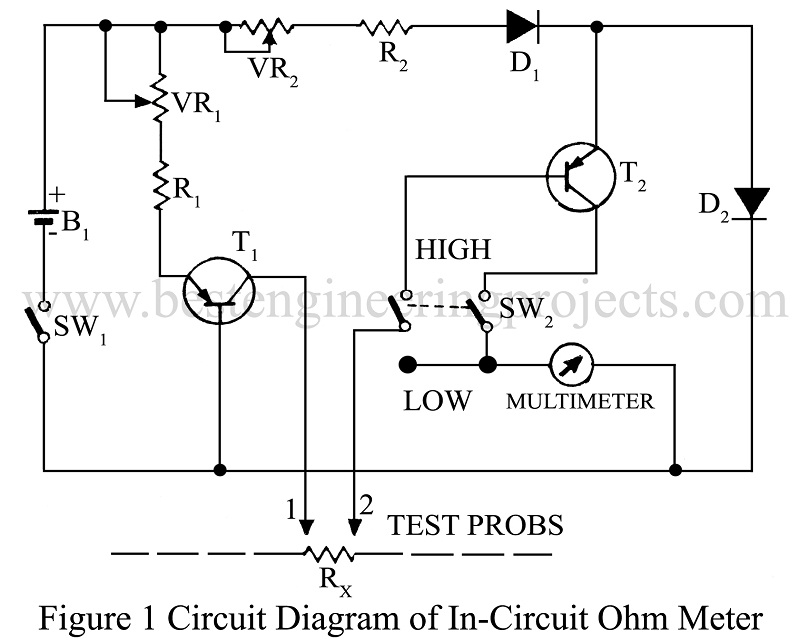Simple Ohmmeter Circuit Diagram Of Separate : In circuit ohm meter for electronics