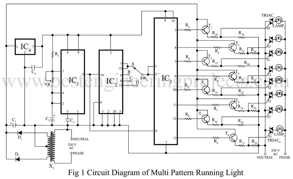 circuit diagram of multi pattern running light