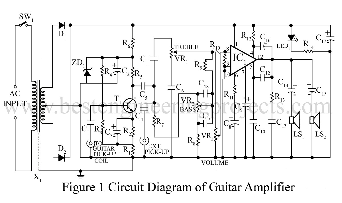Amplifier Circuit Diagram | Power amplifier | Voltage
