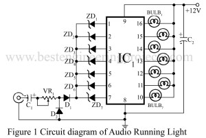 circuit diagram of audio running light