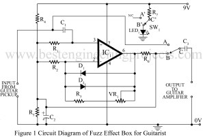 circuit diagrm of fuzz effect box for guitarist
