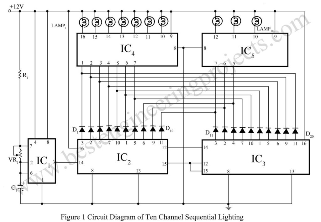circuit diagram of ten channel sequential lighting