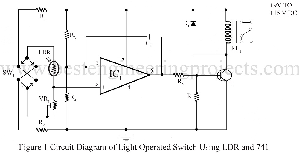circuit diagram of light operated switch using ldr and 741