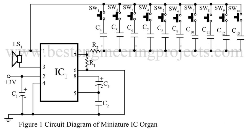 circuit diagram of miniature ic organ