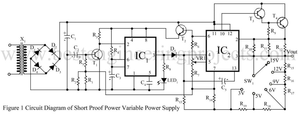 circuit diagram of short proof variable power supply