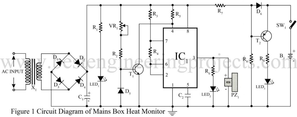 circuit diagram of mains box heat monitor