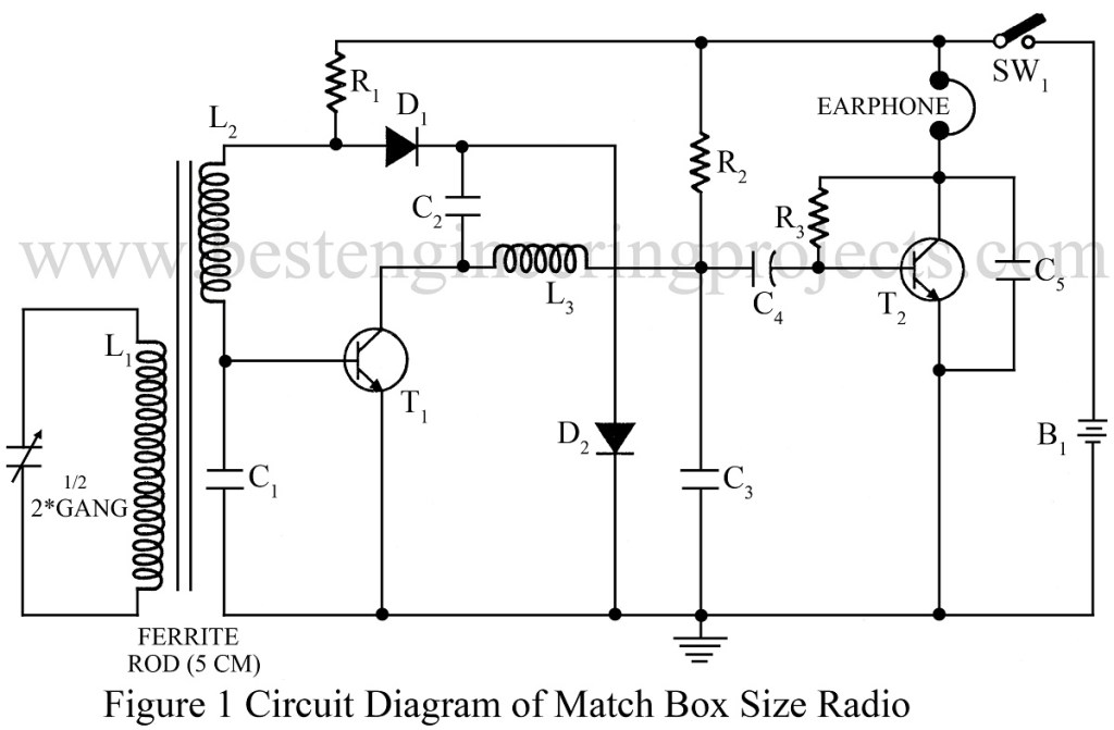 circuit diagram of match box size radio