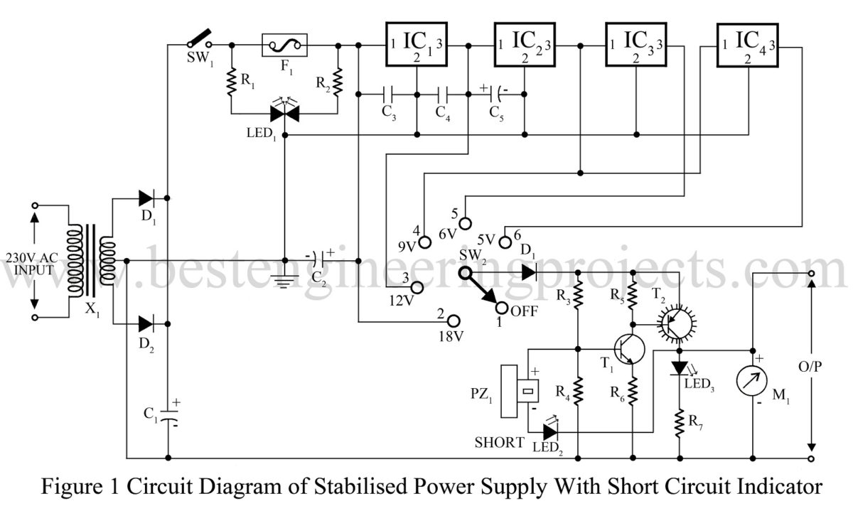 Stabilized Power Supply With Short