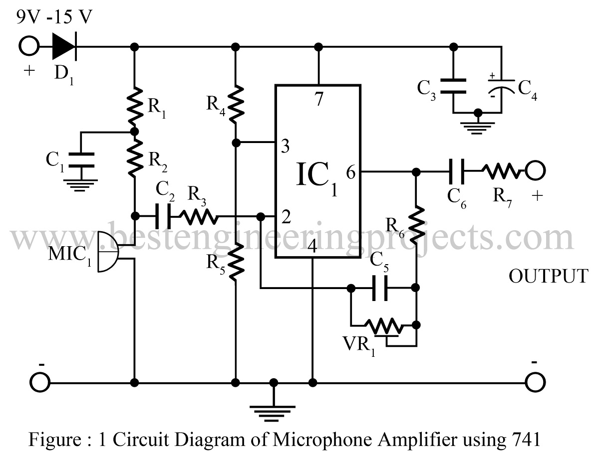 microphone amplifier using op amp 741 op amp 741 based projects rh bestengineeringprojects com 741 Op-Amp Pinout 741 op amp circuit schematic