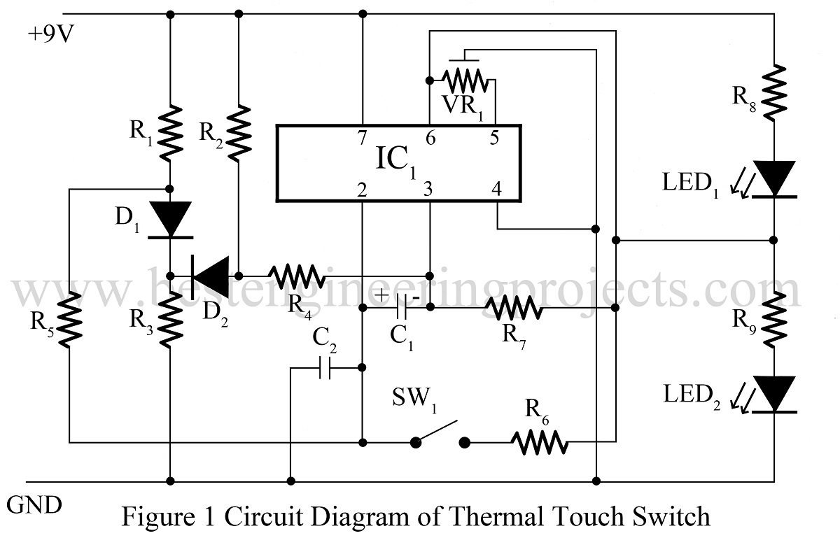 Thermal Touch Switch Using Opamp 741   IC 741 Based Projects