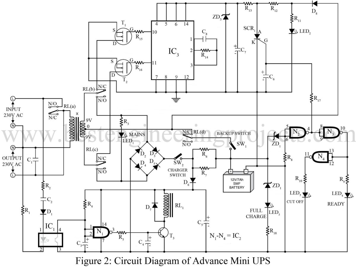Mini Circuit Switching Diagram Data Schema Relay Advance Ups Best Engineering Projects Swithching Diagrams Switch
