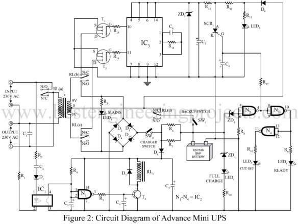 circuit diagram of advance mini ups