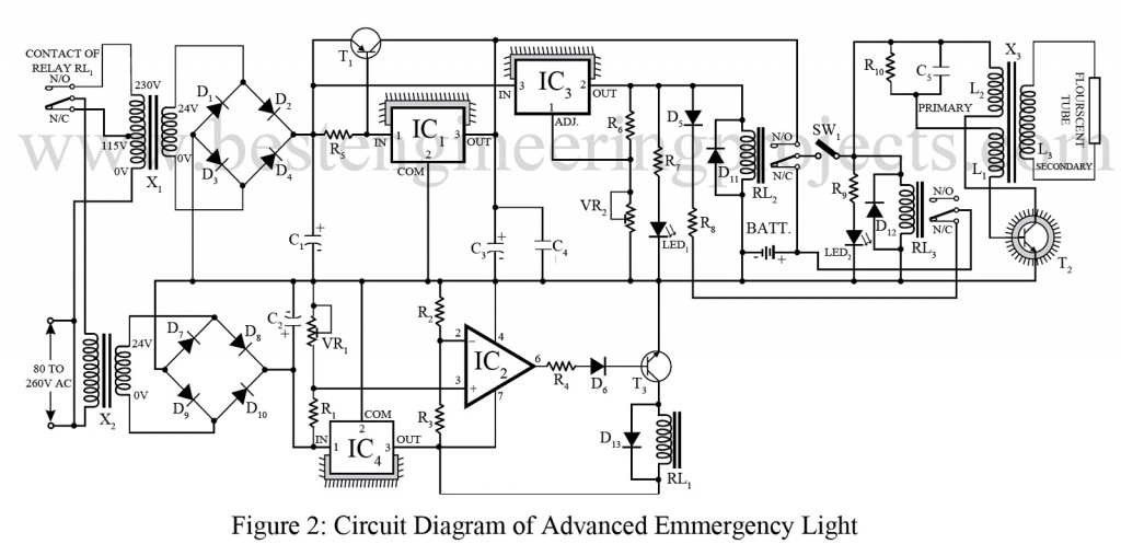 circuit diagram of advanced emergency light