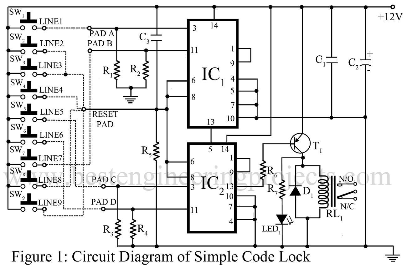 Diagram Electronic Code Lock Circuit