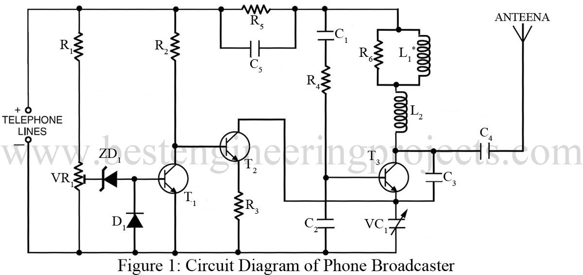 phone broadcaster circuit basic electronic projects rh bestengineeringprojects com Basic Electrical Wiring Diagrams Diagram Electrical Circuit