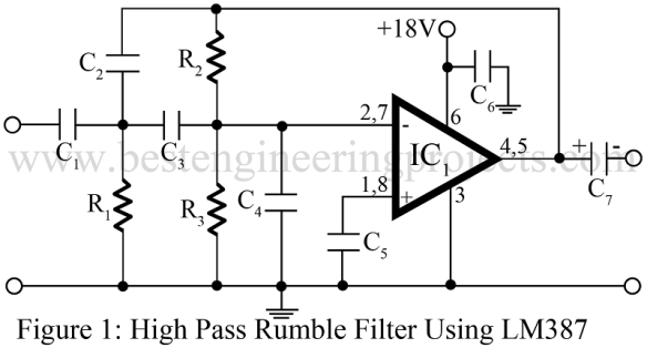 high pass filter or rumble filter using LM387