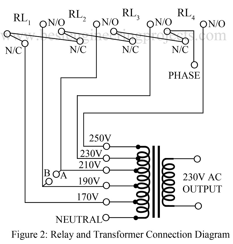 relay and transformer connection diagrams?resize=800%2C837 automatic voltage stabiliser circuit best engineering projects 5kva transformer wiring diagram at aneh.co