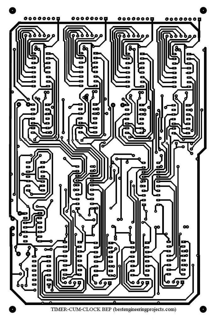 solder side pcb design of digital timer cum clock