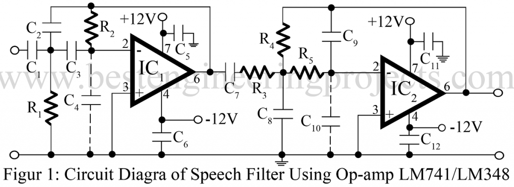 speech filter using op amp 741 or 348